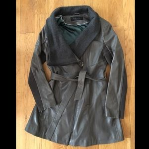 Elie Tahari belted leather trench coat